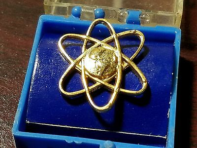 Vintage Atomic Energy World Pin Gold Tone Tie Power Kilowatt Electricity