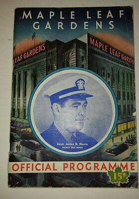 "Rare Canadian (Toronto) ""december 12,1943 Maple Leaf Gardens Official Programme"""