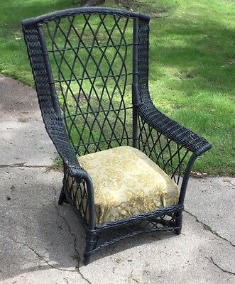 Antique Wicker Arm Chair, Tall Back