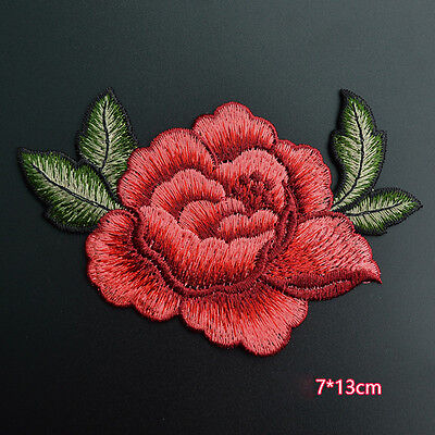 2PC Red Rose Flower Embroidery Applique Cloth DIY Sew on Patches Badge Sewing SG