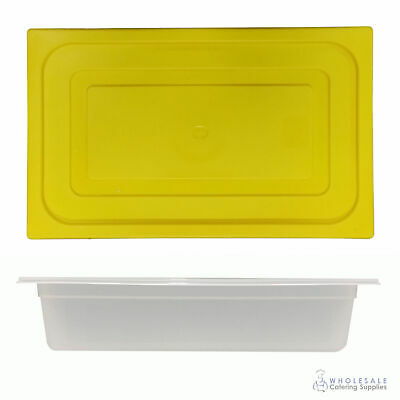 12x Food Pan with Yellow Lid 1/1 GN 100mm Full Size Polypropylene Gastronorm