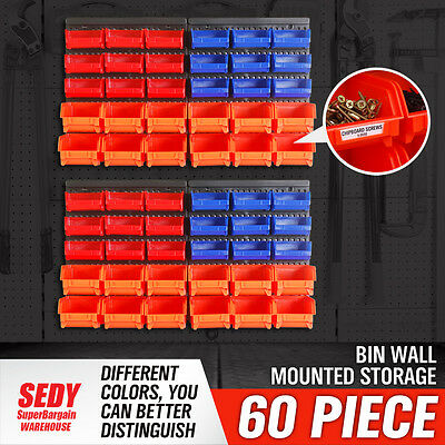 60 PC Bins Wall Mounted Storage Solution Rack Nuts & Bolts Organizer Small Parts