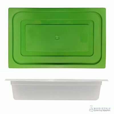 12x Food Pan with Green Lid 1/1 GN 100mm Full Size Polypropylene Gastronorm