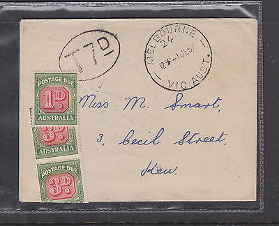 POSTAGE DUE COVER: T7d DOUBLE DEF, INCORECT, SHOULD HAVE BEEN 8d. 1-JUNE 1957