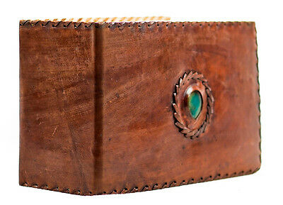 Vintage Handmade Leather Journal Stitched Comment Book Travelers Notebook Xlarge