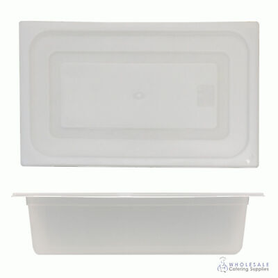 12x Food Pan with Clear Lid 1/1 GN 150mm Full Size Polypropylene Gastronorm