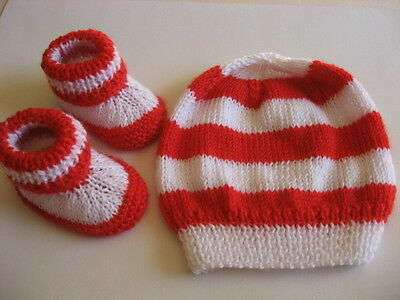 Hand knitted 'Footy Colours Sydney Swans' baby booties & hat to fit 0-3 months