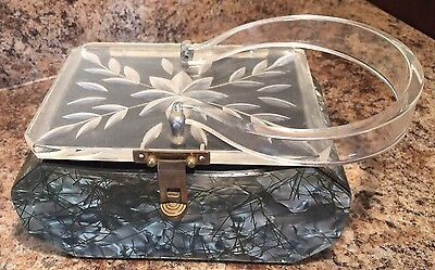Fabulous Silver & Gray Spaghetti Lucite Purse Retro Vintage Carved Clear Top
