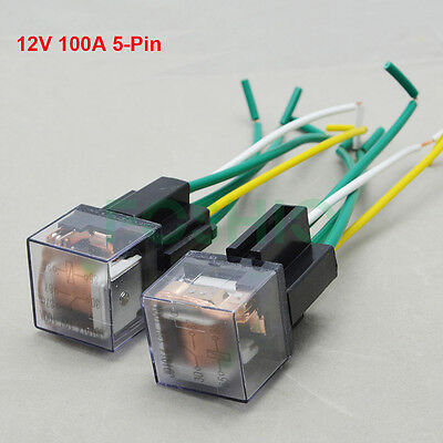 1-2 Set Auto Car Relay & Harness Socket 5-Pin 12V 100A DC SPDT ON/OFF Waterproof