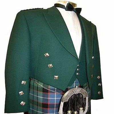 Green Prince Charlie Kilt jacket Free Waistcoat Scottish Wedding Coat Custom