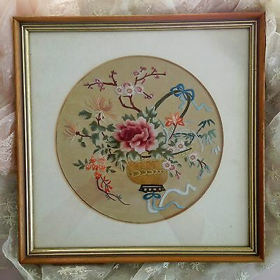 Lovely Vintage Chinese Silk Embroidery. Needlework. Flowers in Basket.