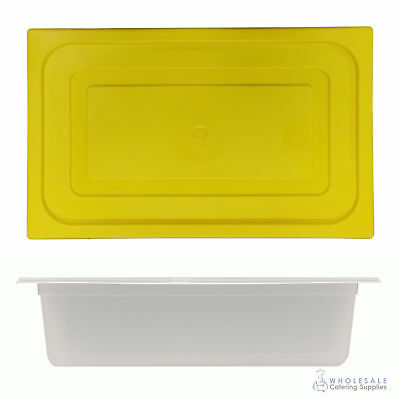 12x Food Pan with Yellow Lid 1/1 GN 150mm Full Size Polypropylene Gastronorm