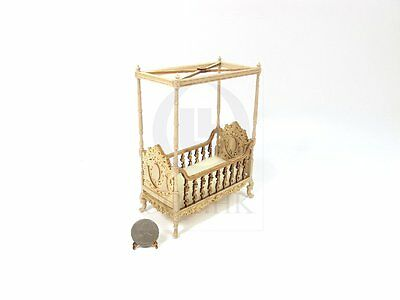 """Wooden 1:12 Scale Miniature The """"Berit"""" 4 Poster Crib For Doll House[Unfinished]"""