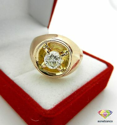 14K Mens Yellow Gold White Diamond Engagement Ring Solitaire Wedding Pinky Band