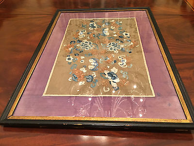 A Pair Chinese Qing Dynasty Textile Sleeve Bands, Framed.