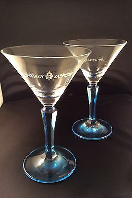 BOMBAY SAPPHIRE GIN BLUE TINTED COCKTAIL GLASS x 2 (TWO) - NEW