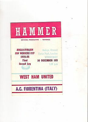 1975/6  West Ham v AC Fiorentina (Anglo Italian Cup Winners Cup)
