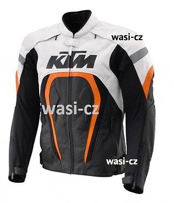 KTM Racing Motorcycle Leather Jacket Safety Pads With CE Protection