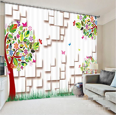 3D Cartoon Tree Blockout Photo Curtain Printing Curtains Drapes Fabric Window CA
