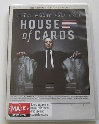 HOUSE OF CARDS - DVD The Complete First Season - 4 disc Set  Season 1 Pal R4