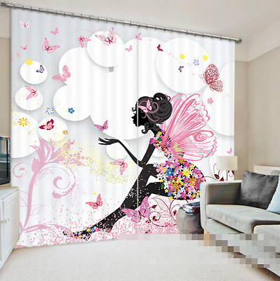 3D Cartoon Girl Blockout Photo Curtain Printing Curtains Drapes Fabric Window CA