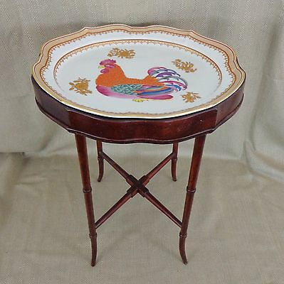 Rare Mottahedeh Chinese Porcelain Occasional Side Table Rooster Tray Plate