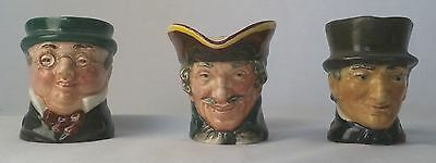 3 Small Characture Jugs By Royal Doulton
