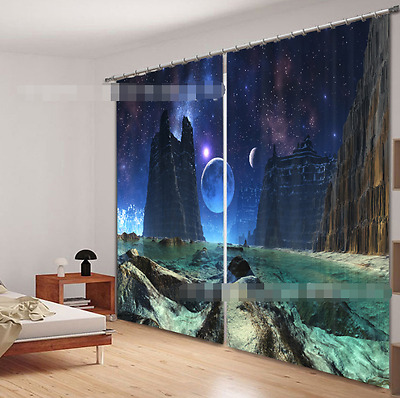3D Planet Hills Blockout Photo Curtain Printing Curtains Drapes Fabric Window CA