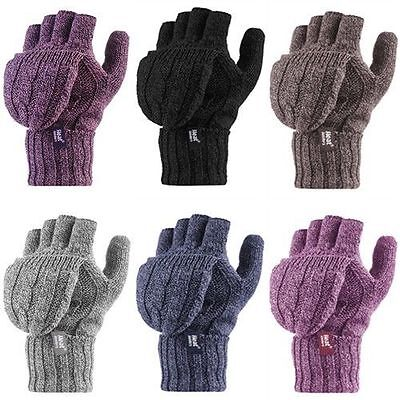 Heat Holders - Ladies Thermal Cable Knit Warm Winter Converter Fingerless Gloves