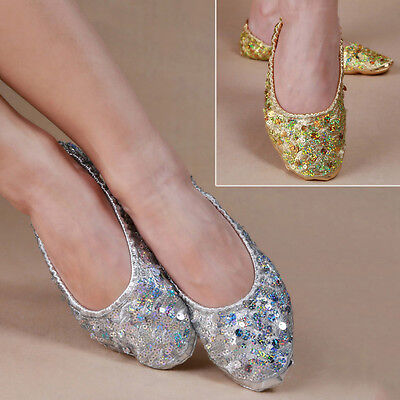 New Belly Dance Shoes Women Ballerina Dancing Practice Shoes Sequins Soft Shoes