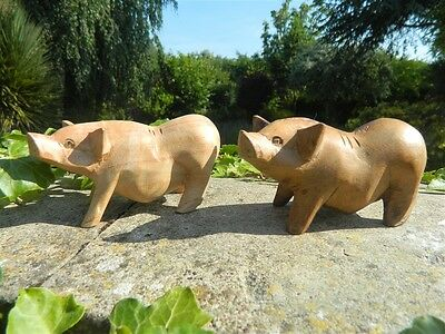 Wooden Pig Carving - Pair of Hand Carved Saddleback Pigs