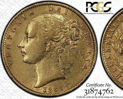 1861 Victoria Sovereign Very Rare Roman I - PCGS slabbed