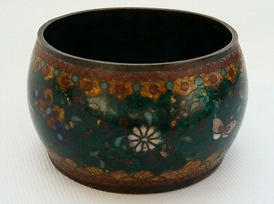Vtg Antique Meiji Japanese Ginbari Bronze Enamel Cloisonné Censer Bowl Signed