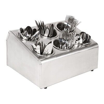 Cutlery Basket Holder 6 Hole S/S Trays Organiser Commercial Catering Resturant
