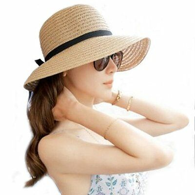 Floppy Foldable Ladies Women Straw Beach Sun Summer Hat Beige One Size Wide BrEM