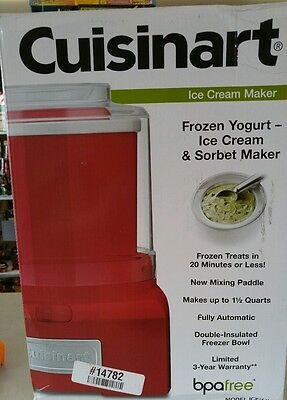 New In Box,  RED Cuisinart Ice Cream Frozen Yogurt Sorbet Maker 1.5 qt ICE 21-R