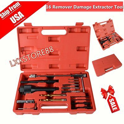 Glow Plug Removal Remover Repair Tool 16 Pc Set For Damaged 8mm 10mm Plug + Case