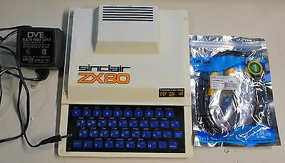 Rare Sinclair ZX-80 w/power supply & TV Connect cable