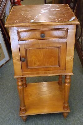 French Ash Pot Cupboard with Marble Top. One Drawer with Cupboard Below