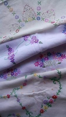 Bundle 3 Vintage Hand Embroidered Tablecloths