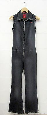 70s STYLE VINTAGE 90s BLACK DENIM ZIP UP ALL IN ONE FLARED JUMPSUIT SIZE 6