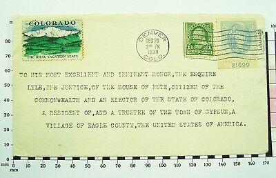 1939 Gypsum Colorado Unusual Addressee - Esquire Lyle of House Kutz, Citizen....