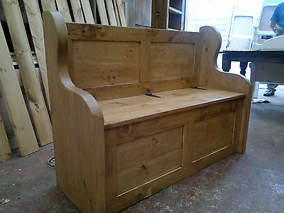 4' Stunning Rustic Plank Style Monks Bench/Settle With Storage(MADE TO ANY SIZE)