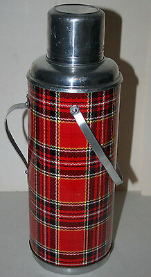 Large Vintage Plaid Thermos w/ Handle and Wood Cork