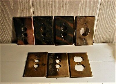 7 Reduced = Vintage Brass Electical Covers==Reduced