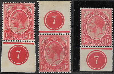 South Africa 1913 KGV SG4 1d Group of 3 with Number 7 Plate in Margin MH