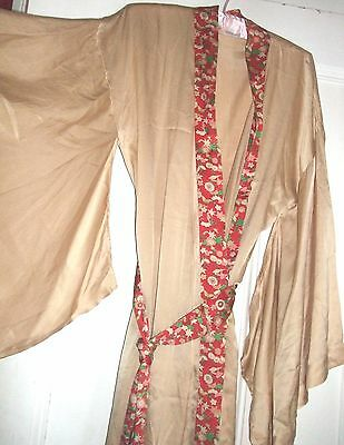 PAST TIMES  Stunning Silk Kimono Robe  SZ 10 12 UK Pale gold Full length Vintage