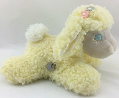 Vintage Eden Yellow Lamb Plush Toy Wind Up Musical Moves Head Mary Had A Little
