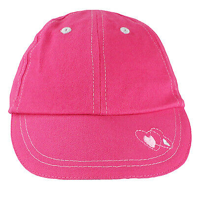 Girls Pink Baseball Cap w/ Embroidered Hearts Child and Youth Sizes Kids Hat