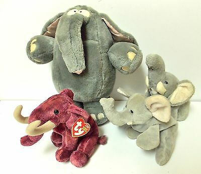 4 Plush Elephants Rare Ty Beanie Baby Colosso Collectibles